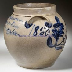 "STAMPED ""J D HEATWOLE"", ROCKINGHAM CO.,SHENANDOAH VALLEY OF VIRGINIA DECORATED STONEWARE SQUAT POT / PRESERVE JAR - PRESENTATION TO HIS SIST..."