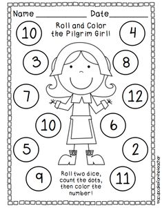 Several November theme Roll and  Color  activities with one or two dice. Free. Thanskgiving, pilgrim girl, turkey