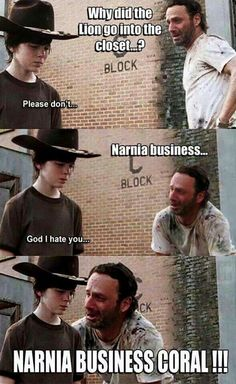 ideas funny jokes memes walking dead for 2019 Walking Dead Funny, Walking Dad Jokes, Walking Dead Coral, Carl The Walking Dead, Neymar, Twd Memes, Rick Memes, My Sun And Stars, Lol