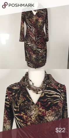 """Wrap Dress Beautiful Jones New York Dress - gorgeous colors to take you from summer to fall - 95% polyester and 5% spandex - bust is 36 to 38 and length is 38"""" Jones New York Dresses Midi"""