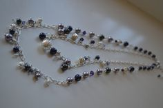 Purples - crystal, pearl, and silver beads Silver Beads, Pearl Necklace, Pearls, Crystals, Purple, Jewelry, Fashion, String Of Pearls, Moda
