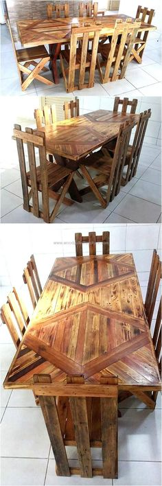 recycled pallets wood dining set