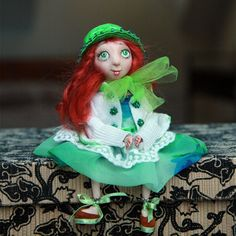 OOAK doll girl room decoration, small cute doll, doll toy, girl doll toy, Waldorf doll, tiny sculpture doll, handmade doll, girl Doll, toy, by DovileDollart on Etsy