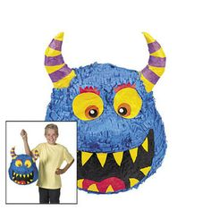 Monster Bash Pinata .  Fill this cheerful papier-mâché piñata with lollies or small toys for lots of fun! This smiling monster piñata will add lots of excitement to your birthday or slumber party. Makes a great hanging decoration too!  27.9 cm x 35.6 cm