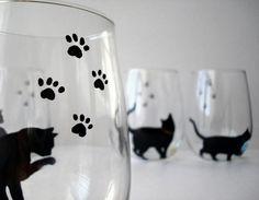 Cat and Yarn Stemless Wine GlassesSet of 4 by MaryElizabethArts, $78.00