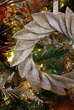 DIY Glitter bayleaf ornament.