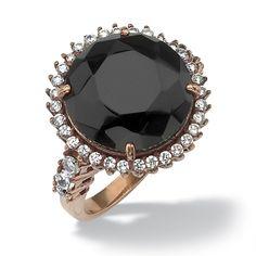 1.34 CT TW DiamonUltra™ Cubic Zirconia and Black Glass Ring in Bronze