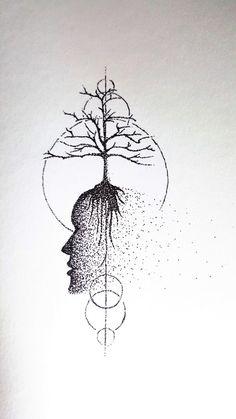 Original Art  Ink Drawing  Tree of Life  Dotwork  by MindIn2Matter