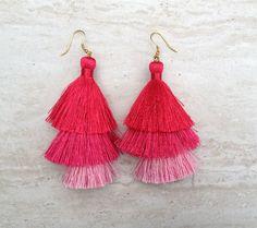 Silk Tiered Tassel Earrings Pink Ombre Tassle Earrings Festival Tassel Earrings Tassle Earings BOHO Earrings Summer Jewelry |$9.99