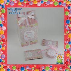 Caixa com ìman latinha e sabonete - 10 Unidades - Cegonha - Menina - Modelo 1 - Temas