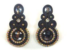Items similar to Long Luxury Black Soutache Earrings,Embroidered Soutache earrings,bead embroidery soutache earrings,embroidered black earrings on Etsy Earrings Handmade, Handmade Jewelry, Soutache Earrings, Rare Gemstones, Bijoux Diy, Black Earrings, Beaded Embroidery, Gemstone Beads, Custom Jewelry