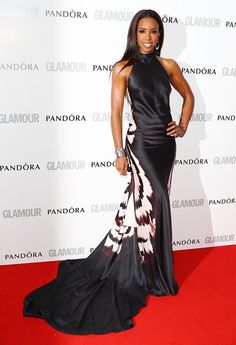 Kelly Rowland looked so beautiful in a silky black halter gown by Maria Grachvogel!