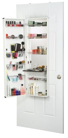 Over the Door Hanging Cosmetic Organizer with Mirror . A great space saver and keeps it out of site too.
