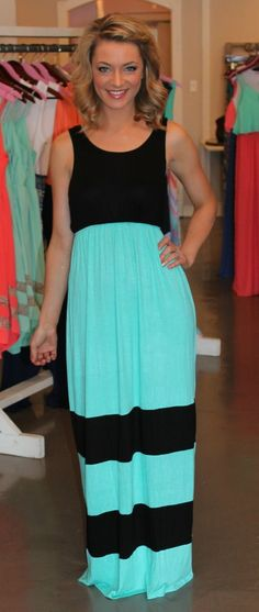 Dottie Couture Boutique - Mint & Black Maxi $29