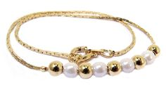 Childrens Anklets  Gold Plated Childrens Anklet with Pearls   Gold Balls -  Baby Jewelry   ac068f30916