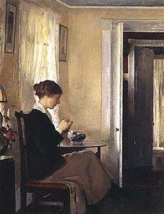 "Edmund Charles Tarbell - 1862-1938), USA- ""Girl Crotcheting"""
