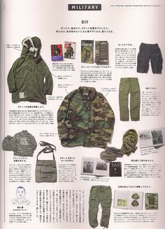 DIY military style by Tetsu Nishiyama of Wtaps | popeye cheap and chic '13. (scanned from popeye september 2013, issue 797)