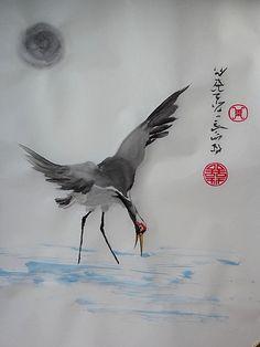 Sumi-e. Spontaneous style ink