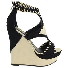 Athena Footwear Black Greece Wedge Sandal ($30) ❤ liked on Polyvore featuring shoes, sandals, wedge sandals, black wedge shoes, wedges shoes, mid heel wedge sandals and platform wedge sandals