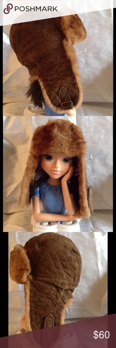 Aviator real fur suede quilted women's hat Aviator real fur suede quilted hat. Size S. Perfect hat for those cold winter days. Great condition, worn twice. Color is brown/ camel like color. Accessories Hats