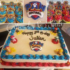 Paw patrol half sheet cake with matching cupcakes