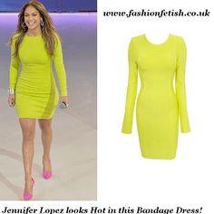 Get Jennifer Lopez's look with this Lime Green Long Sleeve Bandage Dress @ www.fashionfetish.co.uk