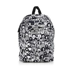 Vans One thousand and one faces backpack ($33) ❤ liked on Polyvore featuring bags, backpacks, cartoon backpack, cartoon bags, pattern backpack, black and white bag and cartoon character backpacks