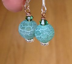 Frosted Green Agate Earrings $15.00 CAD by LittleGemsByLuisa on Etsy