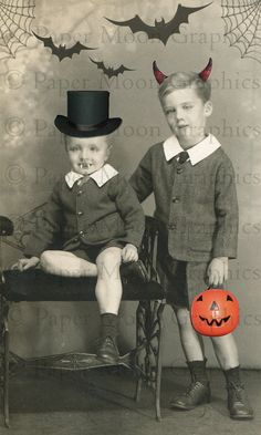 Instant Download! Little Devils Altered Vintage Halloween Image by PaperMoonGraphics, $2.00 #vampire #alteredart #devil https://www.etsy.com/shop/PaperMoonGraphics?ref=l2-shop-info-name