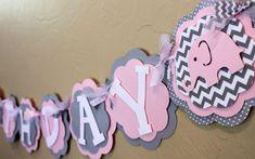 Elephant Light Baby Pink Gray Chevron Stripe Polka Dot HAPPY BIRTHDAY Banner Girl Shower Party Decorations Wedding Love Shabby Chic HBD on Etsy, $36.00