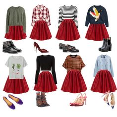 1 skirt 8 options by anastasia-nikulina on Polyvore featuring мода, H&M, Monki, Proenza Schouler, Zara, Chicwish, Yves Saint Laurent, Marc by Marc Jacobs, N°21 and Christian Louboutin