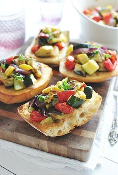 Roasted Ratatouille Toasts / Bev Cooks
