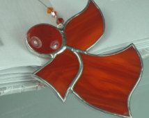 Little Red Stained glass Guardian angel Suncatcher Window ornament & Christmas decoration