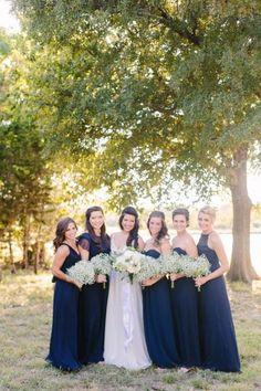 Glamorous Outdoor Barn Wedding Dark Blue Bridesmaid Dresseswedding