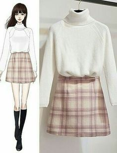 Kpop Fashion Outfits, Korean Outfits, Cute Fashion, Girl Fashion, Fashion Tips, Fashion Terminology, Fashion Drawing Dresses, Dress Sketches, Fashion Design Sketches