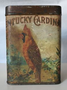 KENTUCKY CARDINAL RARE EARLY 1900 S CIGAR TIN, J.K. PFALTZGRAFF & CO.