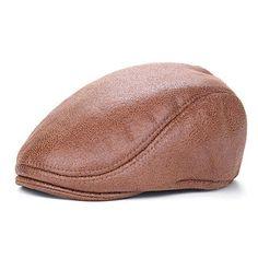 921de26461272 Men Vintage PU Leather Beret Cap Casual Outdoor Visor Duck Hats Winter Warm  Peaked Caps