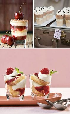 "Shot Glass Desserts - Yummy. Perfect party food. Recipe for ""Raspberry Tiramisu Bites"".."