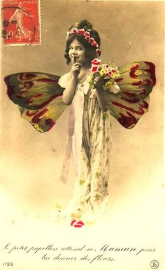 Little butterfly girls postcard Edwardian pictures