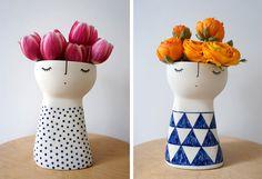 Vanesaa Bean. Animando la ceramica. Super cute flower vases                                                                                                                                                                                 Más