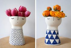 Vanesaa Bean. Animando la ceramica. Super cute flower vases