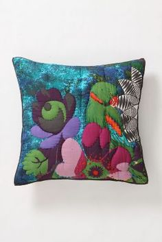 Lush Landscape Square Pillow Case - Colourful Parrot cushion to remind me of tropical climates #AnthropologieEU #PinToWin