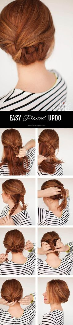 EASY PLAITED UPDO HAIRSTYLE TUTORIAL Simple Five Minute Hairstyles are those incredible styles which transforms your early morning look which is generally messy one to a hot sassy professional. Updo Hairstyles Tutorials, Up Hairstyles, Pretty Hairstyles, Hair Tutorials, Hairstyle Ideas, Braided Hairstyles, Wedding Hairstyles, Office Hairstyles, Everyday Hairstyles