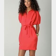 🆕DVF Karin dress NWT crepe style dress with strapped up sleeves. Belt is missing. Cherry orange color, dolman sleeves, hip pockets. Sold out! NO TRADES. Diane von Furstenberg Dresses
