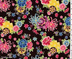 Yugyoku Oriental Flowers Black, Kokka Japanese Import Fabric FQ