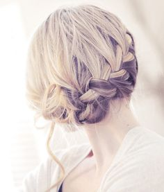 side french braid updo. Try the fishtail braid instead for a totally different look.