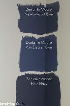 benjamin moore van deusen blue - paring with Philadelphia Cream for bedroom.