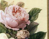 Decoupage Napkins | Shimmering Fairy Roses on Cream | Paper Napkins for Decoupage