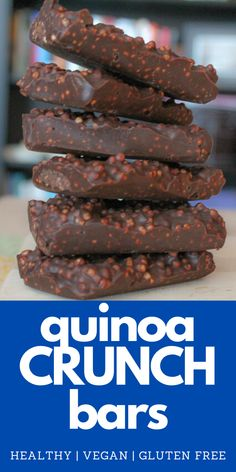 This easy vegan recipe for Quinoa Crunch Bars is a healthy spin on the classic candy. Gluten free and peanut free! Vegan Dessert Recipes, Dairy Free Recipes, Vegan Recipes Easy, Whole Food Recipes, Sweet Recipes, Vegan Gluten Free Desserts, Healthy Sweets, Healthy Baking, Healthy Baked Snacks