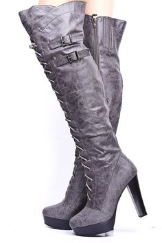 56675610c270 GREY FAUX LEATHER LACE UP THIGH HIGH BOOTS  19.99 High Heel Combat Boots